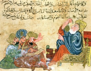 A-mediaeval-Arab-depiction-of-Aristotle-teaching-astronomy-to-other-Greek-scholars-300x236