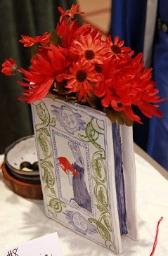 Majolica book vase, Baroness Ysabella de Draguignan