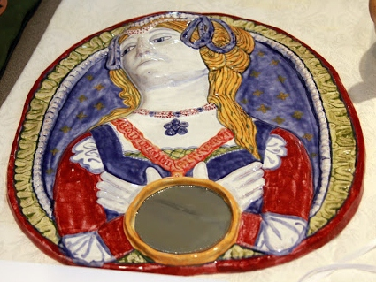 Majolica mirror frame, Baroness Ysabella de Draguignan
