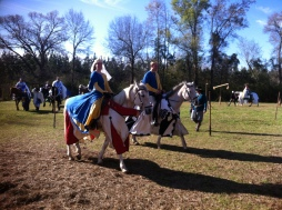 Their Royal Majesties Edward and Thyra preparing to join the mounted procession to the opening ceremonies at Gulf Wars