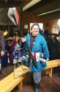 Mistress Brita Mairi Svensdottir, the Loving Battleaxe of Warm Wisdom, with her Viking battleaxe