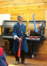Master Leiftameon, Master in the Fraternal Order of the Three Mace'ns, with his juggling clubs