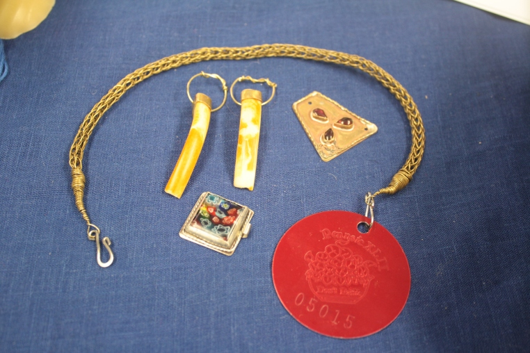 Her Highness Avelina Keyes, trichinopoly chain, beaver tooth pendants, Staffordshire hoard finding, bezel set mosaic glass