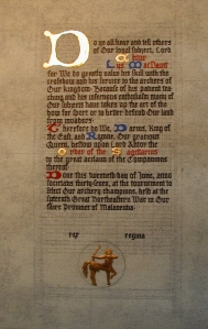 Scroll - Sagittarius for Ahtor Lys MacDavit by Ygraine of Kellswood - 2002