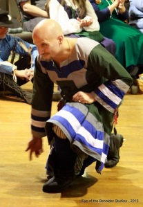 Lord Jake deTwelfoaks wore an 11/12th century riding tunic in the fashion of the NHL's Hartford Whalers.  Mundanely, Jason Taylor plays goalkeeper for a men's recreation league hockey team named after the Whalers.  The tunic and winnegas (viking leg wraps) were made by Lady Ascelinne deChambord, mka Paige Damian of Camelot Creations.