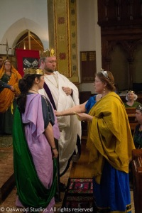 The Kingdom Seneschal swears fealty to the newly-crowned King and Queen