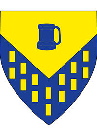 Sir Cedric's arms - Per chevron inverted or and azure; billety or; in chief a tankard azure