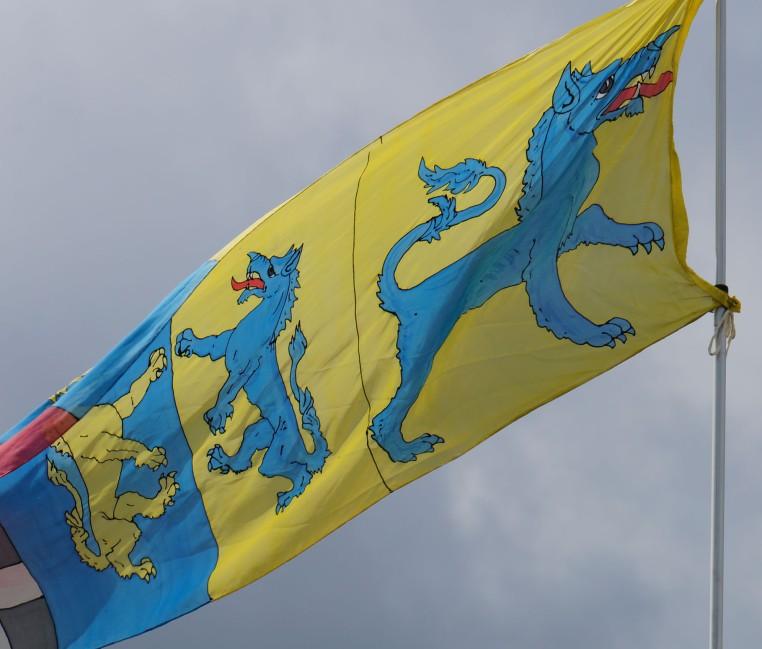 Tyger banner at Pennsic 42, photo by Baroness Rainillt