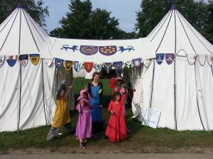 Children guard the East Kingdom Royal encampment at Pennsic 43.