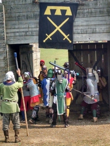Division 3 youth armored Combat at the doors of the Fort at Pennsic 43