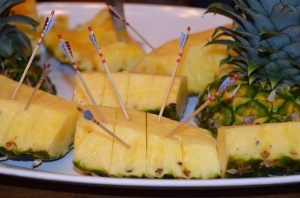 Pineapples, with toothpicks strongly resembling Her Majesty's arrows.