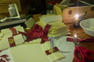 In-process picture of the poems provided by Mistress Aife.