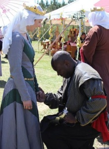 Queen Thyra and her Rapier Champion, Davius St. Jacques, at Gulf Wars last year.