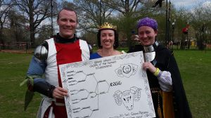The victors, Count Cellach and Dona Anasasia with Queen Thyra - photo by Countess Marguerite