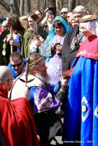 Ivan Ivanov surrounded by the Order of the Chivalry is sent to vigil.  Photo by Cateline la Broderesse