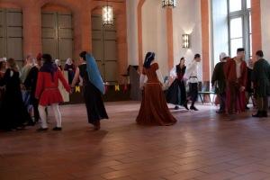 Countess Judith teaches an Italian dance in the Upper Hall