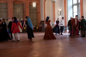 Countess Judith teaches an Italian dance in the Upper Hall