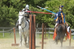 Sir Ankara and Baron Duncan Kerr joust at a previous event.
