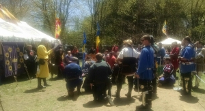 The combatants listen to the Rules of the List at Spring Crown Tournament. Photo by Mistress Catrin o'r Rhyd Fôr