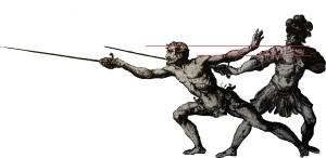Capo Ferro's guard and lunge overlaid