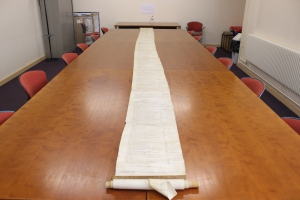 Image of a bailiff's account roll, unrolled
