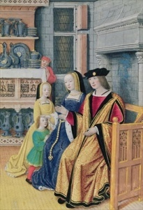 An early Tudor family sitting in their hall.