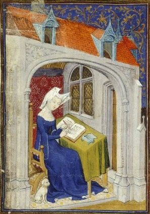A lady (Christine de Pisan) writing in her chamber.