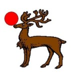 Fieldless: A reindeer statant proper sustaining with its nose a roundel gules