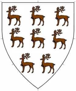 Argent, eight tiny reindeer statant proper