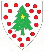 Argent semy of roundels gules, a pine tree vert charged with a mullet Or