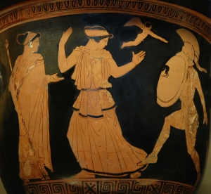 Helen and Menelaus, observed by Aphrodite and Eros.