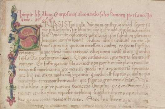 The Latin phrase filius bonacci, in the first line of the Liber Abbaci manuscript (above) gave rise to Leonardo da Pisa's modern nickname, Fibonacci.
