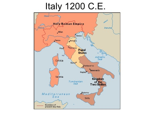 The 13th century on the Italian peninsula. Pisa is just northeast of Corsica, on the western coast of what is now Italy.