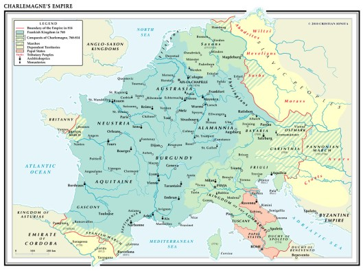 Charlemagne's Empire circa 814. Roncevalles is in the far southwest.