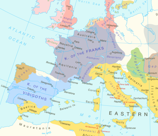 The kingdoms of Western Europe circa 527.