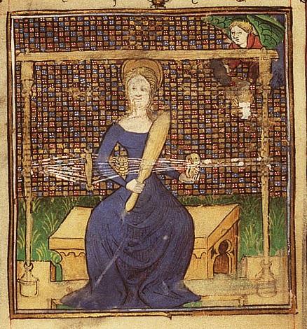 Mary weaving in the Temple. 1410. Illuminated Book of Hours. Koninklijke Bibliotheek, The Hague, Netherlands.