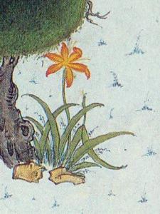 "Daylily. Mosavver, Mir. Detail from the Shāh Tahmāsb Shāhnāme,""Rostam Lassoes Rakhsh"". (1525) Soudavar, p. 166."
