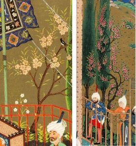 Two Fruit Trees. 1. Unknown painter. Detail from the Khamseh of Nizami. (1524/25) Chelkowski, p. 30. 2. Detail from the Houghton Shāhnāma. (1539) Welch, p. 80.