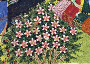 "Rose of Sharon. Unknown artist. Detail from ""Festivity at a Princely Court"". Hagedorn, p. 65."