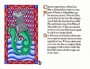 Capricorn by Lady Lisabetta Medaglia (illumination) and Duchess Thyra Eiriksdotter (calligraphy)