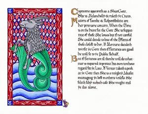 Capricorn by Lady Lisabetta Medaglia (illumination) and Duchess Thyra Eiriksdotter (calligraphy)