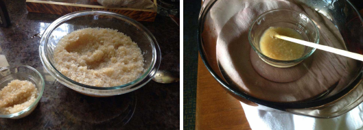 Left: rabbit hide glue after soaking. Right: rabbit hide glue being heated. Photo by Lady Angela Mori.