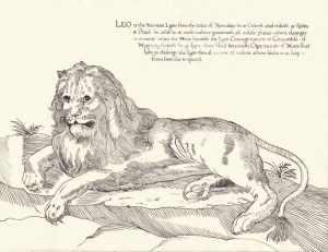 Leo by Mistress Elizabeth Elenore Lovell (illumination) and Mistress Eva Woodrose (calligraphy)