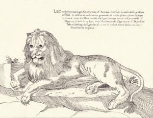 Leo by Mistress Elizabeth Elenore Lovell (illumination) and Mistress Eva Woodrose (calligraphy)