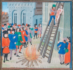 The Execution of Hugh Dispenser, from Froissart's Chronicles. Bibliotheque Nationale MS Fr. 2643, folio 11r