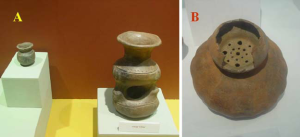 (A) Trifid vessel and miniature pot from the Capacha cultural phase (1500–1000 BCE) of Colima, Mexico that could be used as a recipient, on display in the Regional Museum of Guadalajara. (B) Gourd-shape vessel from El Pantano culture (1000–800 BCE) of Jalisco, that could be used as a steamer, on display in the Archaeological Museum of Mascota. Photos by the respective museums.