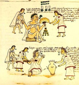 An illustration from Codex Mendoza depicting elderly Aztecs smoking and drinking pulque. By en:User:Billycuts [Public domain], via Wikimedia Commons