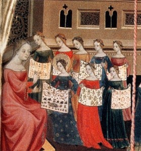 Detail from Altarpiece of the Virgin and Saint George, c. 1400, Luis Borrasse, showing girls working on embroideries for the Church.