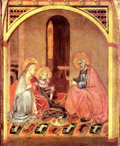 """Detail from """"The Holy Family"""", Ambrogio Lorenzetti, c. 1345"""