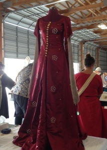 A Lady's Red Silk Surcoat, circa 1350's England. Dress created by the Honorable Lady Kathryn Fontayne